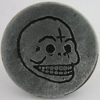 Anti-Christian/Satanic button taken from a pai...