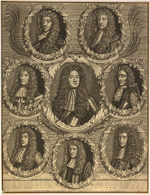 Rye House Plot - Late 17th century composite engraving by John Savage, and comprising seven portraits of figures of the Plot all of whom were dead by 1685 (Sir Thomas Armstrong, the Earl of Argyll, the Earl of Essex, Henry Cornish, William Russell, Lord Russell, the Duke of Monmouth, and Algernon Sidney), with one of Edmund Berry Godfrey, whose unexplained death triggered the Popish Plot allegations against Catholics.