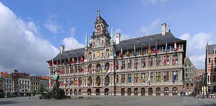 Antwerp City Hall at the Grote Markt (Main Square). Antwerpen Stadhuis crop2 2006-05-28.jpg