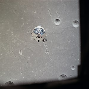 Apollo 11 - Apollo 11 Command/Service Module Columbia in lunar orbit, photographed from the Lunar Module Eagle