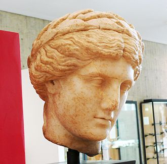 Wreath - A replica bust of Apollo wearing a laurel wreath.