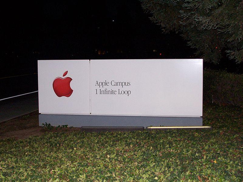 File:Apple Headquarters Sign AtNight.jpg