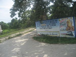 "Gabriel García Márquez - García Márquez billboard in Aracataca: ""I feel Latin American from whatever country, but I have never renounced the nostalgia of my homeland: Aracataca, to which I returned one day and discovered that between reality and nostalgia was the raw material for my work"".—Gabriel García Márquez"