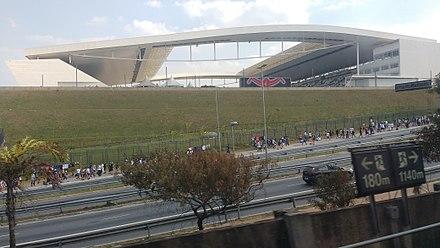 d1a119fc83 Arena Corinthians vista de dentro do Metrô.