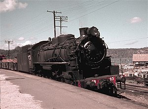 New South Wales D59 class locomotive - Oil burning 5903 heading south at Hawkesbury River station