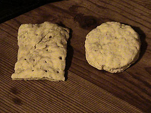 Cracker (food) - Reproduction of 19th-century hardtack, in the Army (square) and Navy (round) styles