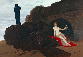"""Odyssean gods - """"Now he's left to pine on an island, wracked with grief"""" (Odyssey V): Calypso and Odysseus, by Arnold Böcklin, 1883"""