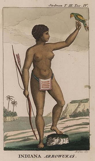John Gabriel Stedman - An Arawak woman, wearing a loincloth of woven beads, from Stedman's Narrative.