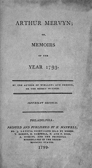 Arthur Mervyn - First edition title page
