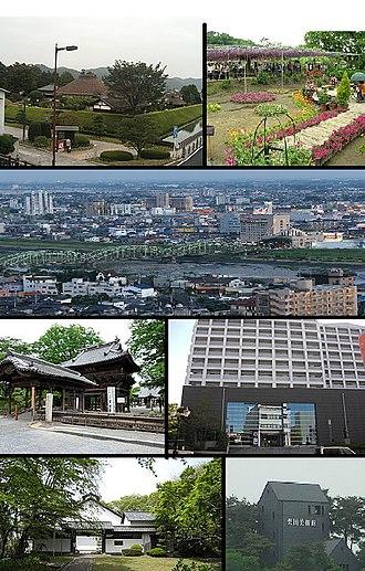 Ashikaga, Tochigi - From top, Ashikaga School, Ashikaga Flower Park, View of Downtown Ashikaga and Watarase River, Banna-ji, Ashikaga Municipal Art Museum, Soun Art Museum, Kurita Art Museum