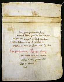 image of ashley's sack, a cloth feedsack that has been embroidered.