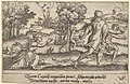 Atalanta and Hippomemes, in the foreground Atalanta kneeling to pick up an apple and Hippomemes running with an apple in either hand, in the landscape background Atalanta running, from a series of four mythological scenes MET DP828528.jpg