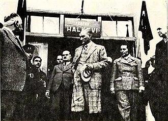 Dersim rebellion - Mustafa Kemal Atatürk and Sabiha Gökçen (November 17, 1937, in front of the Pertek People's House)