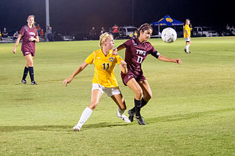 Texas Woman's University - The Pioneers soccer team in action against the Texas A&M–Commerce Lions in 2014