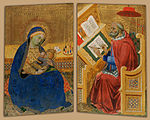 Attributed to Benedetto di Bindo - Virgin of Humility (left) and Saint Jerome Translating the Gospel of John (right) - Google Art Project.jpg