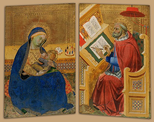 Attributed to Benedetto di Bindo - Virgin of Humility (left) and Saint Jerome Translating the Gospel of John (right) - Google Art Project