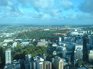 Auckland Domain - The Domain as seen from the Sky Tower, with approximate boundaries shown marked in red.