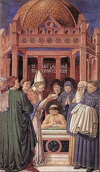 Agostinho recebe o batismo das mãos de Ambrósio