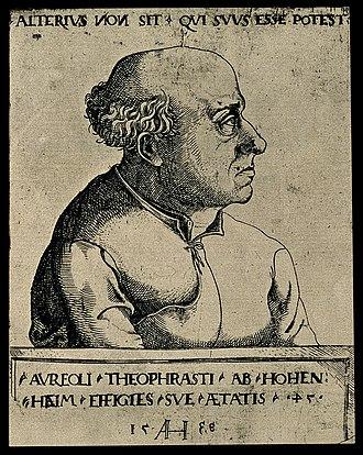 Paracelsus - 1538 portrait by Augustin Hirschvogel