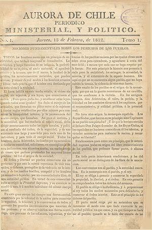 Camilo Henríquez - First issue of La Aurora de Chile