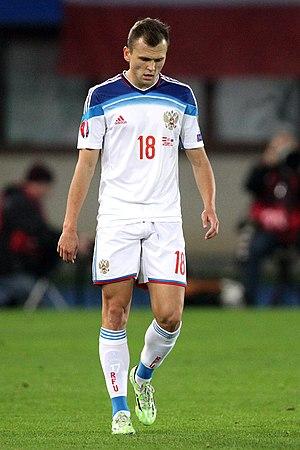 Denis Cheryshev - Cheryshev with Russia in a Euro 2016 qualifier against Austria in 2014