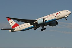 Austrian Airlines Boeing 777-200ER MEL Monty.jpg