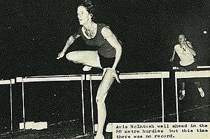 Avis McIntosh - McIntosh well ahead in the 80 metre hurdles