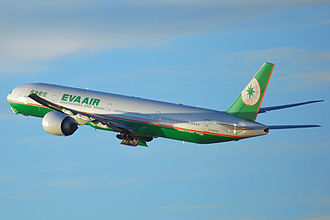 EVA Air - EVA Air's long-haul flagship, the Boeing 777-300ER departing from Los Angeles International Airport, flying back to Taipei
