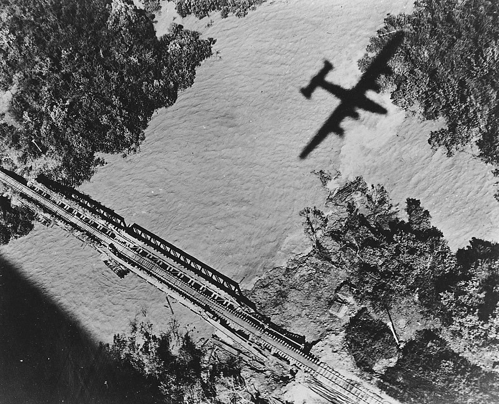 B-24 7th BG attacking RR bridge in Burma 1945