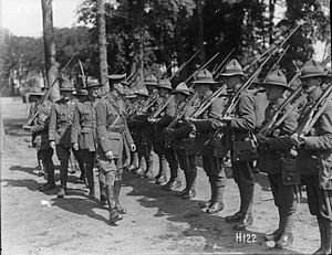 4th Infantry Brigade (New Zealand) - Brigadier General Hart inspecting men of 4th Brigade, 6 July 1917