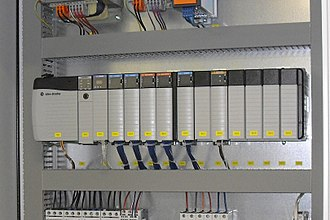 Programmable logic controller - PLC installed in a control panel