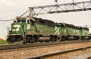 EMD GP50 - A BN train westbound through Eola, Illinois, led by a GP50