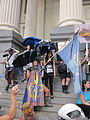 BP Dead Pelicans Gallier Hall Save the Gulf Flag.JPG