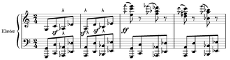 Perfect fourth - Measures 24 to 27 from Mussorgsky's The Hut on Fowl's Legs