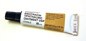 Bacitracin - A tube of bacitracin ointment for eyes