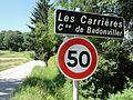 Badonviller (M-et-M) city limit sign Les Carrières.jpg