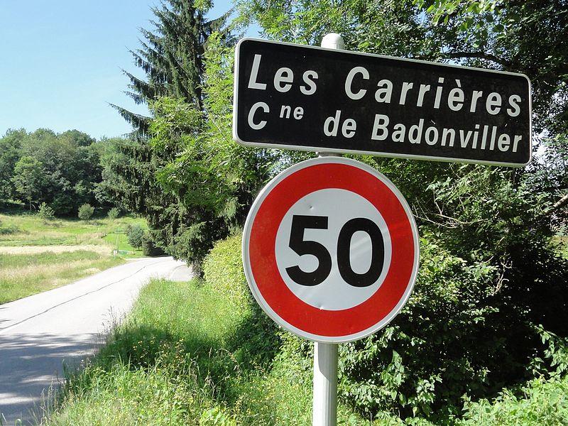 Badonviller (M-et-M) city limit sign Les Carrières