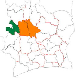 Location of Bafing Region (green) in Ivory Coast and in Woroba District