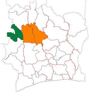 Bafing Region - Image: Bafing region locator map Côte d'Ivoire