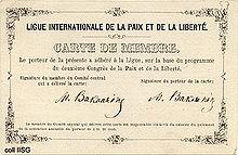 Carné de miembro de Bakunin de la Liga de la Paz y de la Libertad.