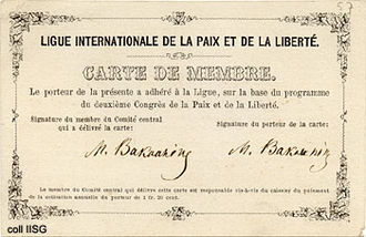 Mikhail Bakunin - Bakunin's membership card of the League of Peace and Freedom