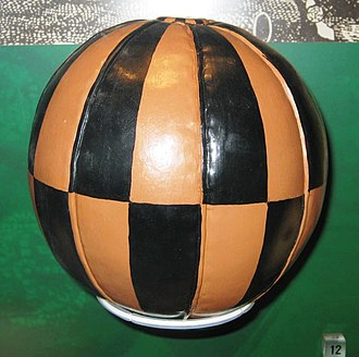 Ba game - Example of a ball used in the Kirkwall Ba' game on display in the National Football Museum, Manchester.