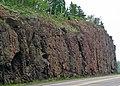 Basalt (Gooseberry River Basalts, Mesoproterozoic, 1097-1098 Ma; Rt. 61 roadcut just east of Upper Falls, Gooseberry Falls State Park, North Shore of Lake Superior, Minnesota, USA) 5 (23290718786).jpg