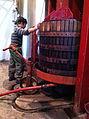 Basket wine press in action.jpg