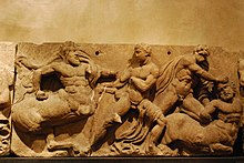 One of the stones of the Bassae Frieze showing the battles with centaurs