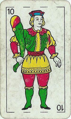 Botifarra (card game) - Image: Bastos Knave spanishdeck