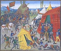Charles de Blois fait prisonnier au cours de la bataille de la Roche-Derrien