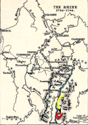 Old pen and ink drawing of the Rhine River, as it flows between western Germany and eastern France; the river flows west out of Lake Constance, and makes a sharp, northerly turn at the Swiss city of Basel. The battle occurred slightly north of Basel. Red line is drawn to show the position of the French army, and a yellow line shows the Habsburg approach.