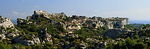 Les Baux-de-Provence village, seen from the D2...