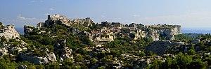 Les Baux-de-Provence village, seen from the D2...